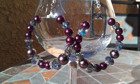 Beaded purple hoop earrings!